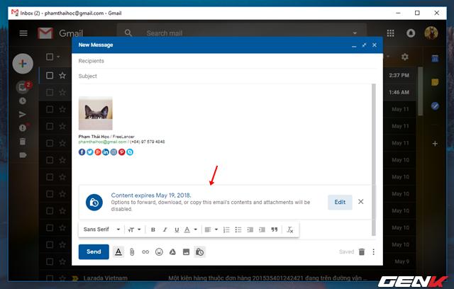 Đã có thể sử dụng tính năng gửi email bí mật trong Gmail, và đây là cách sử dụng - Ảnh 8.