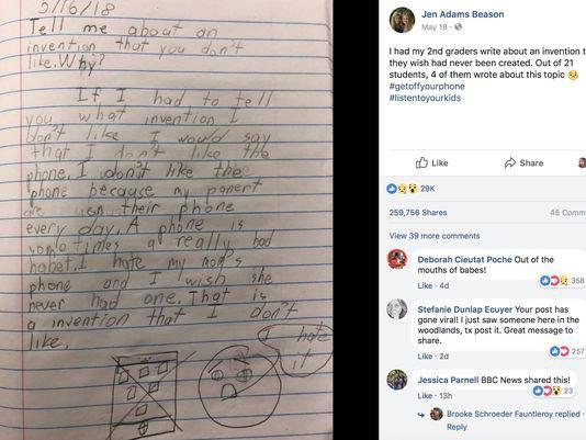 Bài văn Con ước gì mẹ không có điện thoại di động của cậu bé lớp 2 gây xôn xao MXH quốc tế - Ảnh 1.