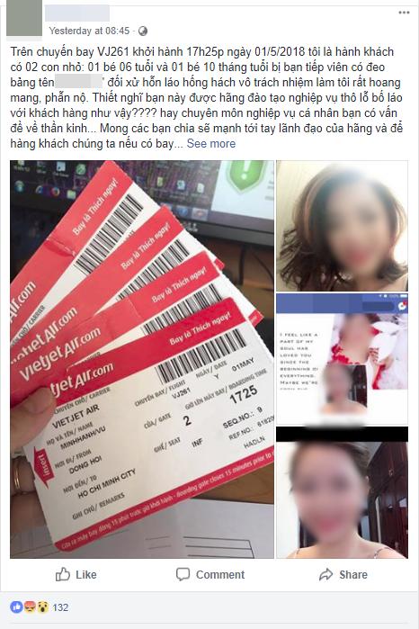 Hành khách tố nữ tiếp viên hãng Vietjet cư xử thô lỗ, thiếu văn hoá, không phát dây an toàn cho bé 10 tháng trên chuyến bay - Ảnh 1.