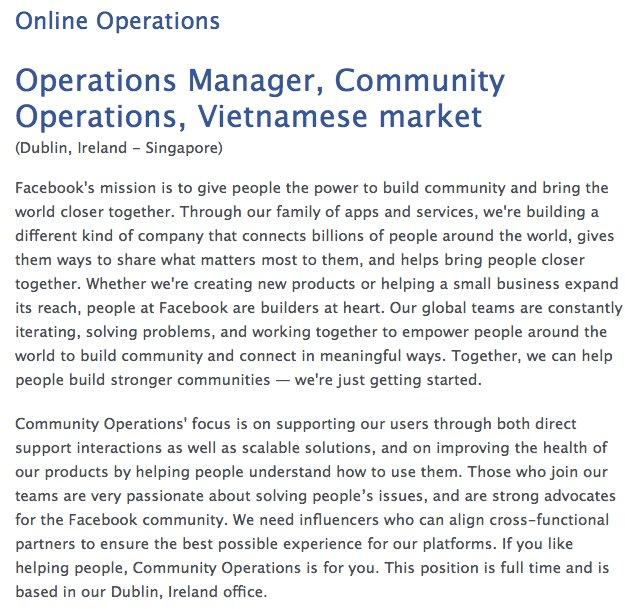 Facebook đăng tuyển nhân sự làm việc cho phân khúc Việt Nam - Ảnh 1.