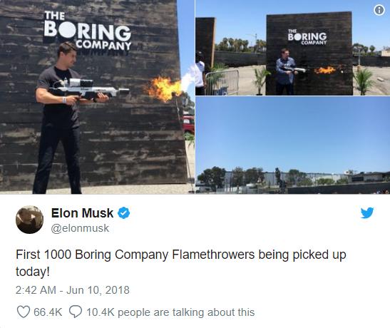 Vừa suýt khóc tại cuộc họp cổ đông, Elon Musk đã phấn khởi đăng tweet về việc bán được 1000 súng phun lửa - Ảnh 1.