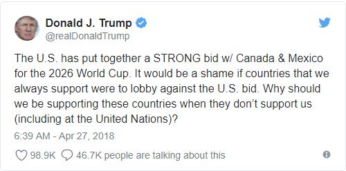Tổng thống Trump đe dọa cắt viện trợ những nước không ủng hộ Mỹ đăng cai World Cup 2026 - Ảnh 1.