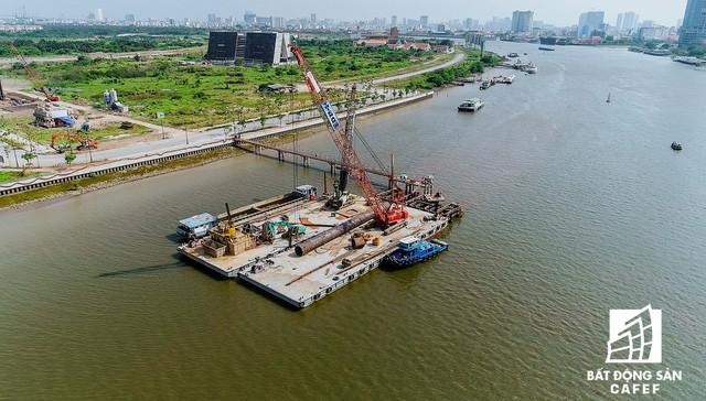 Toàn cảnh dự án cầu Thủ Thiêm 2 đang xây dựng nối khu trung tâm Quận 1 với KĐT Thủ Thiêm - Ảnh 9.