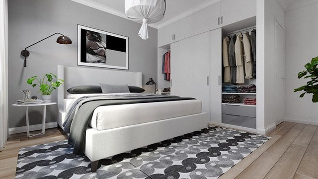 Căn hộ đẹp lạ được trang trí bằng hai màu sắc xám và trắng - Ảnh 7.