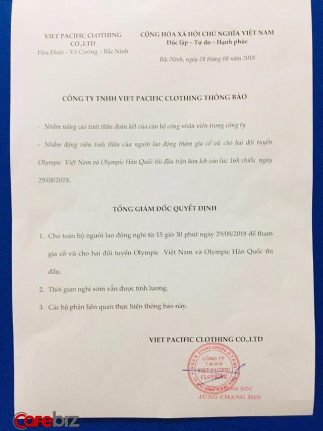 Tổng giám đốc nhà người ta: Cho cán bộ công nhân viên nghỉ xem bán kết Olympic Việt Nam, được nghỉ nhưng vẫn có lương - Ảnh 1.