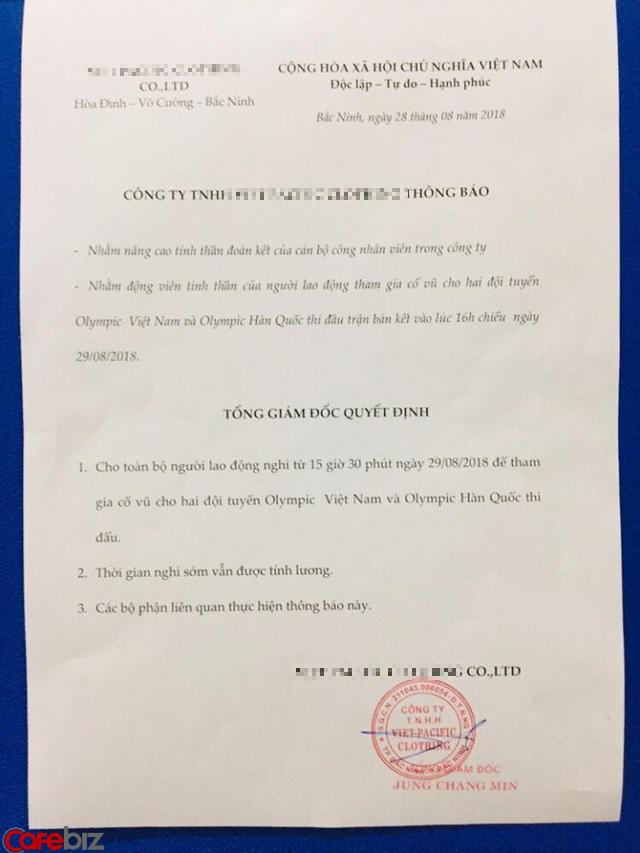 Hàng loạt công ty, doanh nghiệp cho phép nhân viên nghỉ làm xem trận bán kết Olympic Việt Nam chiều nay: Tình yêu với bóng đá lớn đến nhường nào! - Ảnh 1.