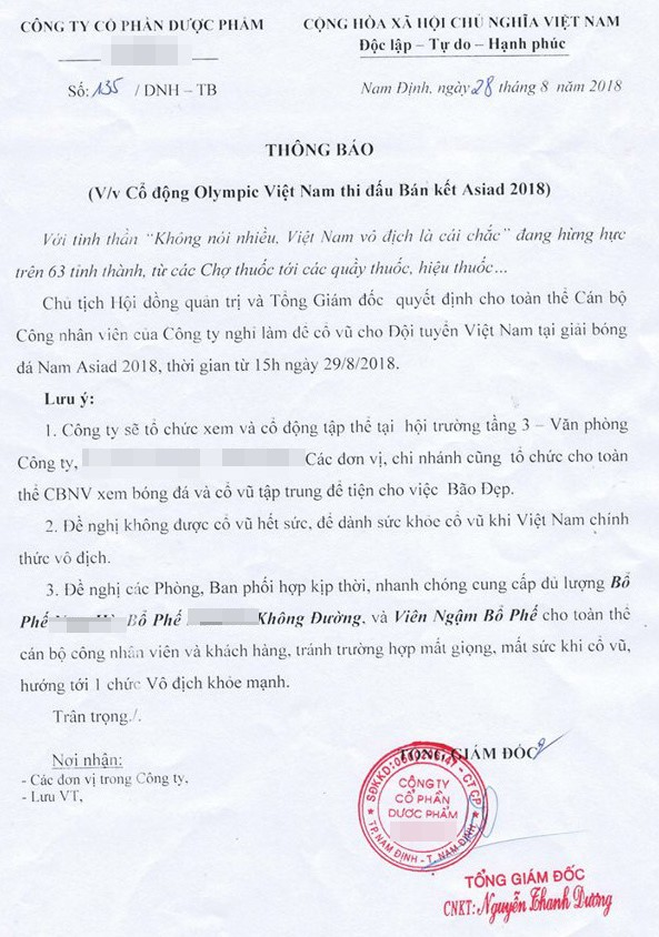 Hàng loạt công ty, doanh nghiệp cho phép nhân viên nghỉ làm xem trận bán kết Olympic Việt Nam chiều nay: Tình yêu với bóng đá lớn đến nhường nào! - Ảnh 3.