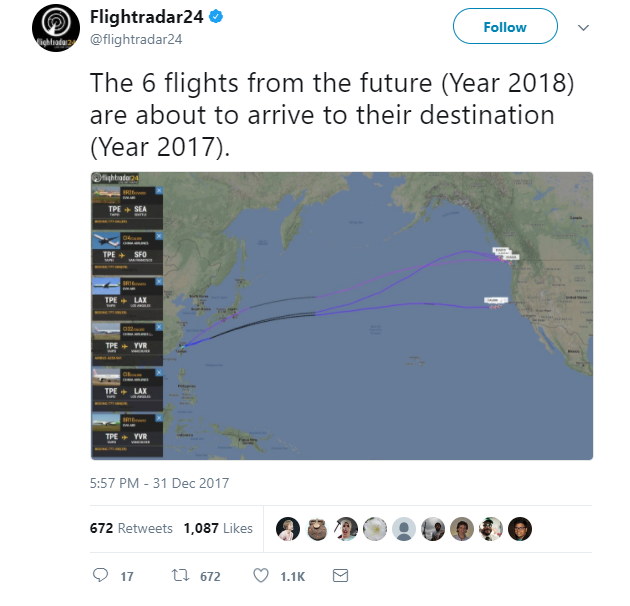 Máy bay cất cánh từ năm 2018 nhưng lại hạ cánh vào năm 2017, thế là thế nào? - Ảnh 2.