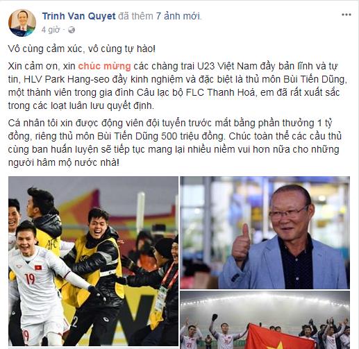 Việt Nam giành vé vào chung kết vô địch U23 châu Á, CEO Vietjet đi mua sơn để vẽ lại máy bay, tỷ phú FLC tặng tiền tỷ - Ảnh 5.