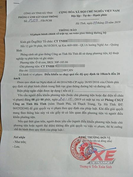 Chủ ô tô tá hỏa vì ngồi nhà Hà Nội vẫn bị bắn tốc độ ở Hà Tĩnh - Ảnh 1.