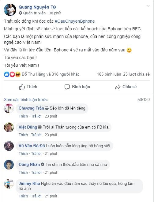 CEO Nguyễn Tử Quảng gia nhập Facebook, công bố Bphone 4 ra mắt đầu năm tới - Ảnh 1.