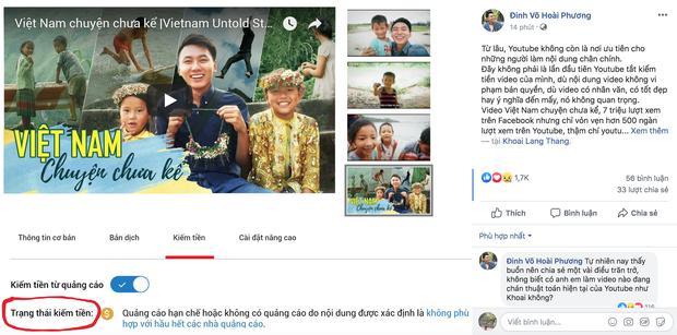 Khoai Lang Thang bị Youtube tắt trạng thái kiếm tiền, chia sẻ buồn rầu vì làm nội dung tử tế nhưng lại bị hạn chế người xem