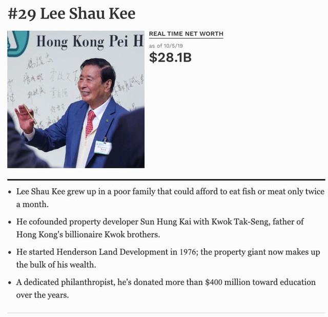 """[Quy tắc đầu tư vàng] Lee Shau Kee – """"Warren Buffett của Hongkong"""" chia sẻ bí quyết tâm đắc gây dựng khối tài sản gần 30 tỷ USD - Ảnh 1."""