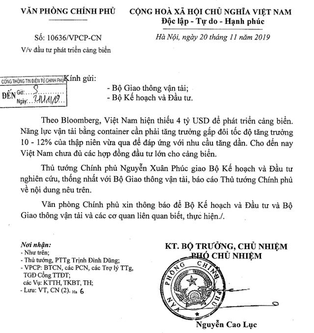 Thủ tướng yêu cầu nghiên cứu thông tin từ Bloomberg về Việt Nam thiếu 4 tỷ USD đầu tư cảng biển  - Ảnh 1.