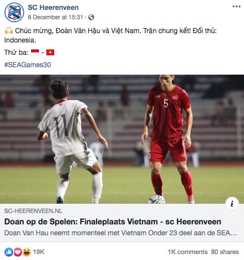 Góc tự hào: CLB của Đoàn Văn Hậu ở Hà Lan gửi lời chúc mừng U22 Việt Nam giành chiến thắng tại SEA Games 30 bằng tiếng Việt: Vô địch! Chúc mừng! - Ảnh 2.
