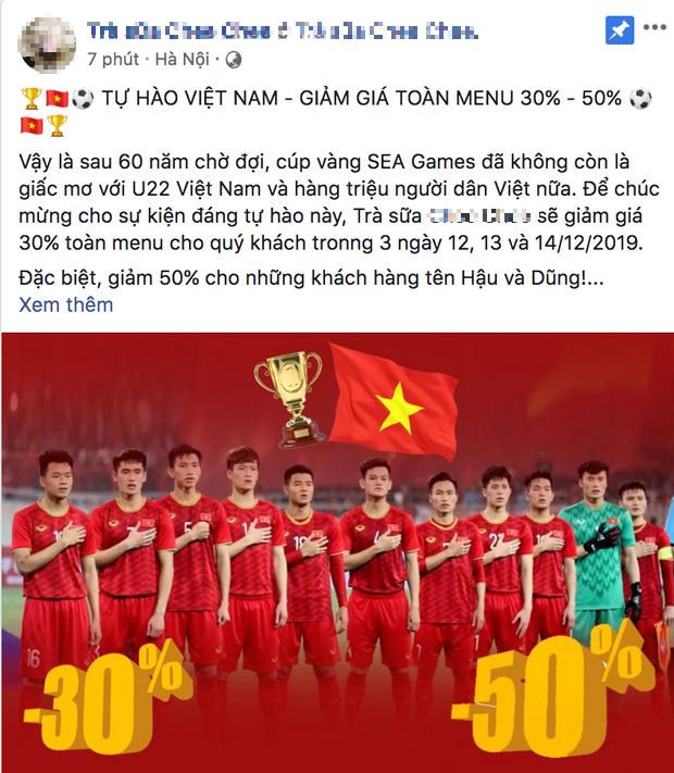Hàng quán đua nhau giảm giá ăn mừng đội tuyển bóng đá Việt Nam giành huy chương vàng SEA Games - Ảnh 2.