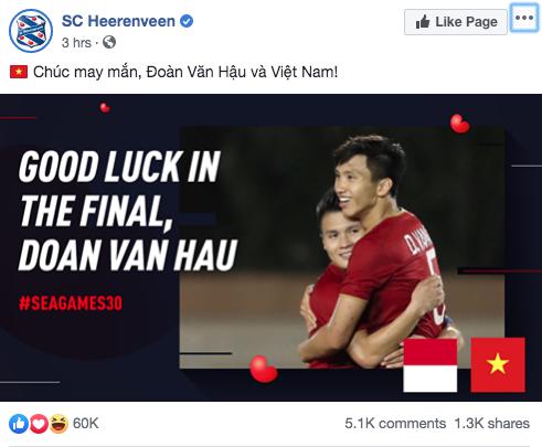 Góc tự hào: CLB của Đoàn Văn Hậu ở Hà Lan gửi lời chúc mừng U22 Việt Nam giành chiến thắng tại SEA Games 30 bằng tiếng Việt: Vô địch! Chúc mừng! - Ảnh 3.