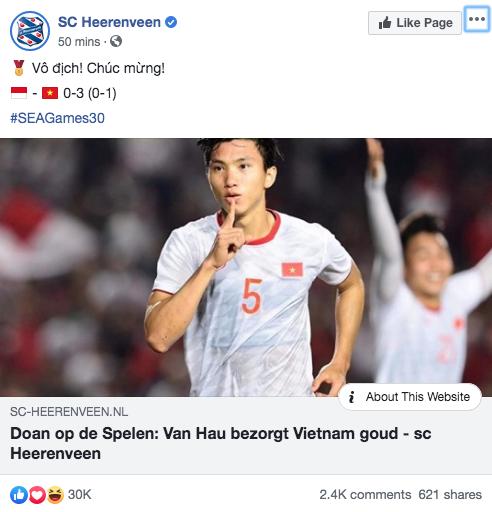 Góc tự hào: CLB của Đoàn Văn Hậu ở Hà Lan gửi lời chúc mừng U22 Việt Nam giành chiến thắng tại SEA Games 30 bằng tiếng Việt: Vô địch! Chúc mừng! - Ảnh 4.