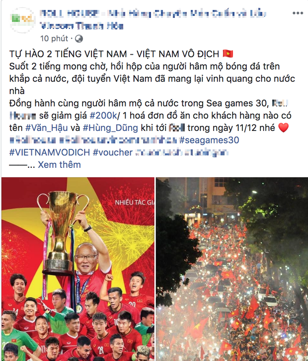 Hàng quán đua nhau giảm giá ăn mừng đội tuyển bóng đá Việt Nam giành huy chương vàng SEA Games - Ảnh 6.
