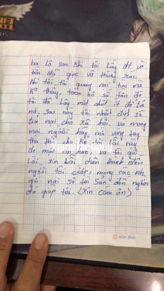 Tên cướp bí ẩn gửi trả 100 triệu đồng cùng thư xin lỗi - Ảnh 4.
