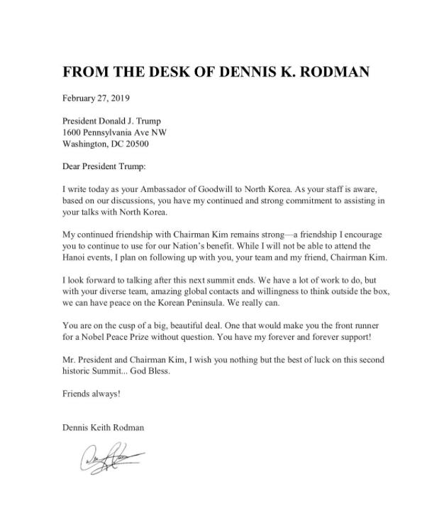 Cựu sao bóng rổ Mỹ (bạn thân của Chủ tịch Kim Jong-un) viết tâm thư cho Tổng thống Trump - Ảnh 1.