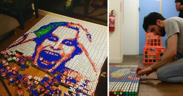 Anh chàng 24 tuổi kiếm được hàng nghìn USD nhờ lắp ráp các khối rubik thành những bức chân dung nghệ thuật - Ảnh 2.