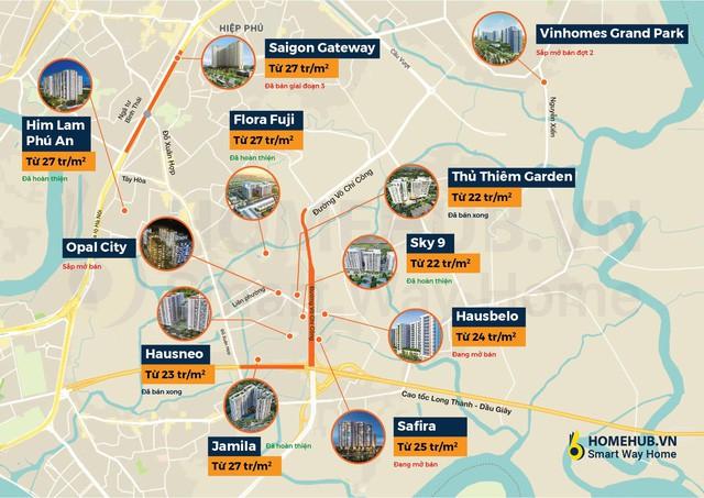 [Infographic] Toàn cảnh giá dự án căn hộ trung cấp Quận 9 xung quanh đường Võ Chí Công, cao tốc Long Thành - Dầu Giây - Ảnh 1.