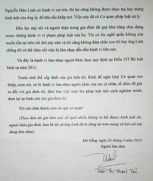 Vợ bị can Nguyễn Hữu Linh tố cáo bị làm nhục, đề nghị Công an xử lý - Ảnh 2.