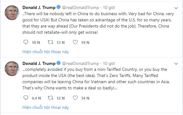 Tổng thống Trump: Chiến tranh thương mại sẽ đẩy các công ty bỏ Trung Quốc sang Việt Nam - Ảnh 1.