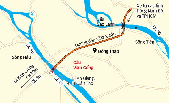 Toàn cảnh cây cầu dây văng dài nhất Vùng Đồng bằng Sông Cửu Long 5.700 tỷ đồng sẽ được thông xe ngày 19/5 - Ảnh 12.