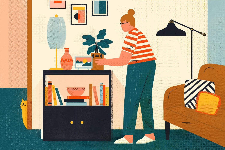 freelancer - freelance illustrator abbey lossing livingroom 1559098606497321131916 - Đời freelancer: Những ảo mộng về một cuộc sống không gò bó, tiền đầy ví và tự do đi khắp nơi!
