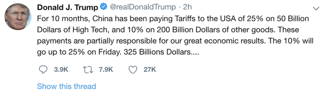 Tổng thống Trump: Mỹ sẽ tăng thuế lên 25% với 200 tỷ USD hàng hoá Trung Quốc từ ngày 10/5 - Ảnh 1.
