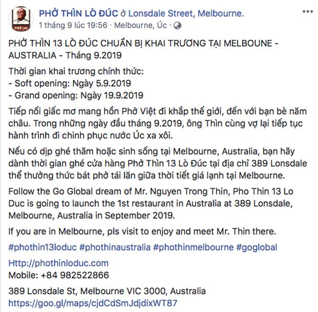 HOT: Ngày hôm nay (5/9), phở Thìn Lò Đúc chính thức khai trương cửa hàng ở Úc, thực khách đã rần rần rủ nhau đi thưởng thức từ 5 ngày trước - Ảnh 1.