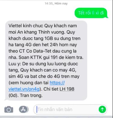 """Đáng yêu như Viettel: Khách hàng nhắn """"Tết rồi lì xì đi"""", nhà mạng tặng luôn 7GB data 4G miễn phí - Ảnh 2."""