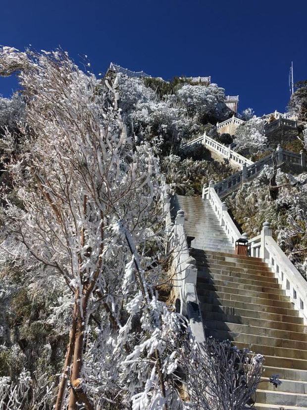 Lạnh âm độ C, đỉnh Fansipan băng tuyết phủ khắp nơi như mùa đông châu Âu ngày mùng 3 Tết - Ảnh 1.
