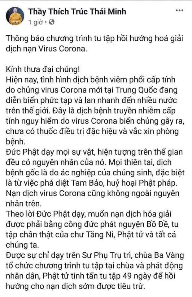 Trụ trì chùa Ba Vàng tổ chức hóa giải virus corona đã bị xử lý - Ảnh 2.