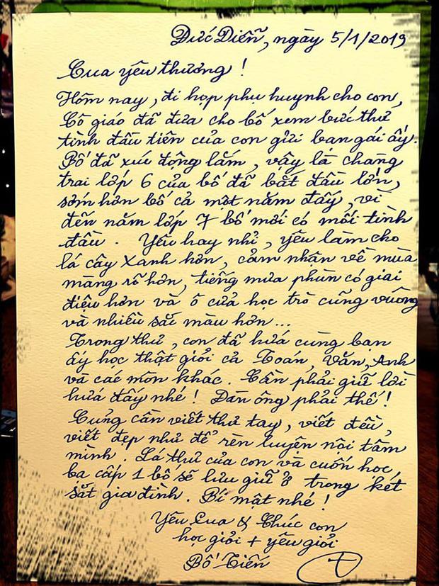 Thư tay xịn xò của nhạc sĩ Nguyễn Vĩnh Tiến gửi con trai với nét chữ đẹp gây thương nhớ, đọc nội dung còn khiến người ta trầm trồ hơn - Ảnh 1.