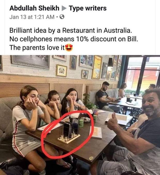 Nhà hàng giảm 10% hoá đơn cho những ai không dùng điện thoại khi ăn: bố mẹ hưởng ứng nhiệt tình còn các con thì hụt hẫng - Ảnh 1.