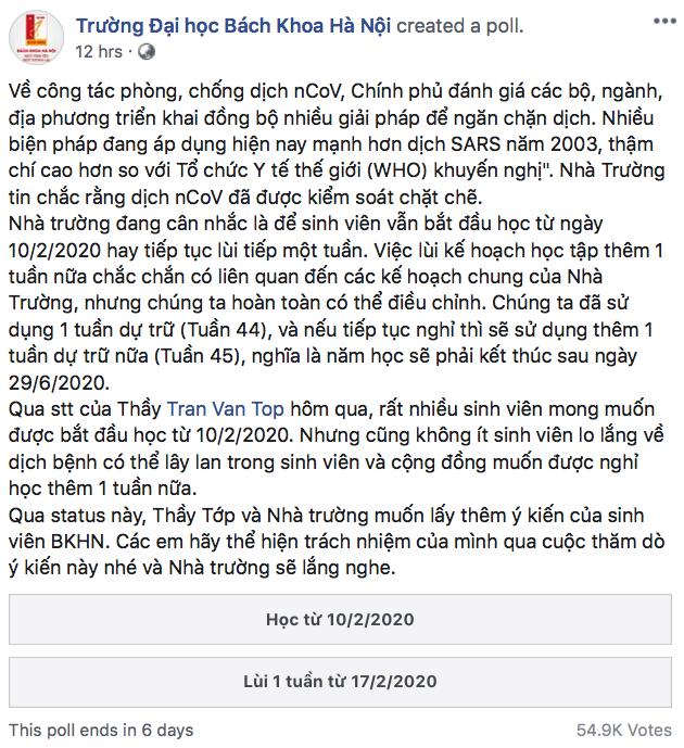 Không biết cho sinh viên đi học hay nghỉ tiếp, Đại học Bách Khoa Hà Nội tổ chức trưng cầu dân ý online - Ảnh 1.