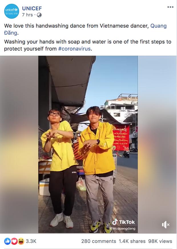 UNICEF chia sẻ clip vũ điệu rửa tay phòng Virus Corona của Quang Đăng và khen hết lời, Việt Nam đưa Ghen Cô Vy viral khắp thế giới luôn rồi! - Ảnh 1.