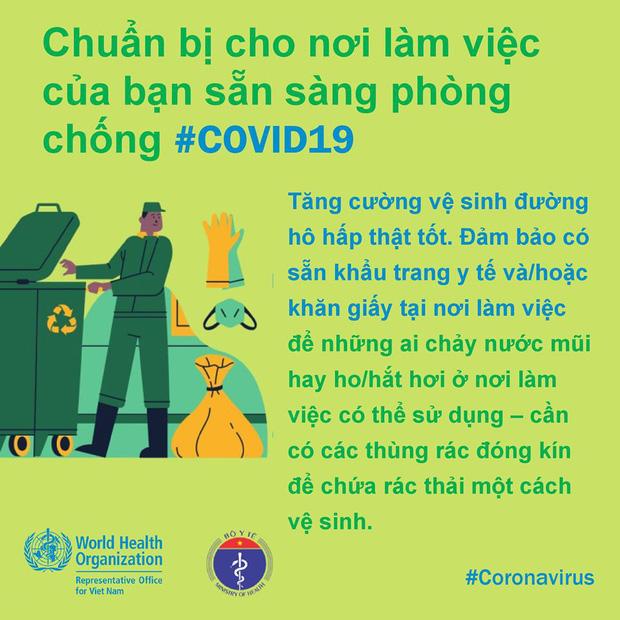 Tổ chức Y tế Thế giới (WHO) phối hợp với Bộ Y tế đưa ra những lưu ý cần thiết khi đi làm để phòng chống COVID-19 - Ảnh 4.