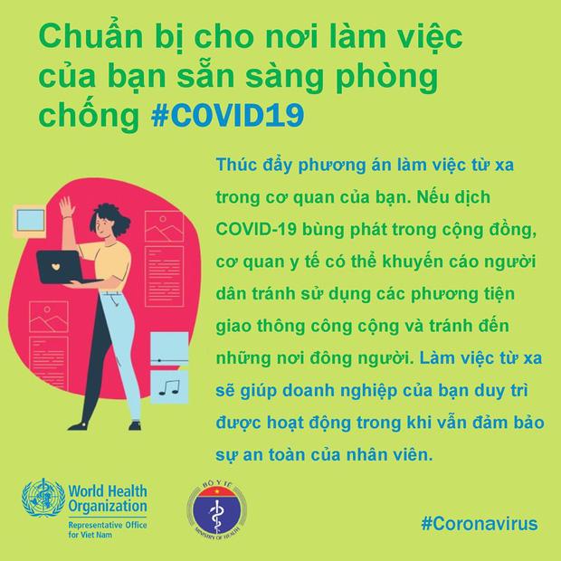 Tổ chức Y tế Thế giới (WHO) phối hợp với Bộ Y tế đưa ra những lưu ý cần thiết khi đi làm để phòng chống COVID-19 - Ảnh 9.