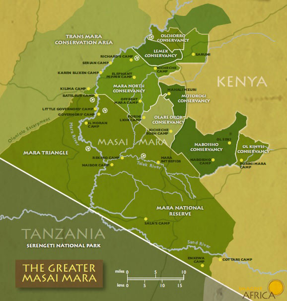 Bản đồ khu vực bảo tồn Maasai Mara