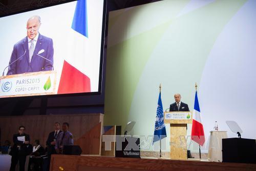Ngoại trưởng Pháp Laurent Fabius phát biểu tại hội nghị COP21 ở Le Bourget. Ảnh: AFP/TTXVN