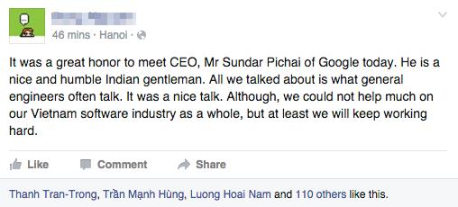 Tài khoản cá nhân của Hà Đông và dòng trạng thái bằng tiếng Anh viết về cuộc gặp với Sundar Pichai - ảnh: Facebook Hà Đông