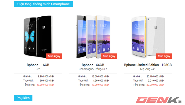 3 phiên bản Bphone được chào bán
