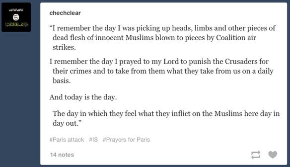 Chia sẻ của một chiến binh IS về vụ việc khủng bố Paris 13/11.