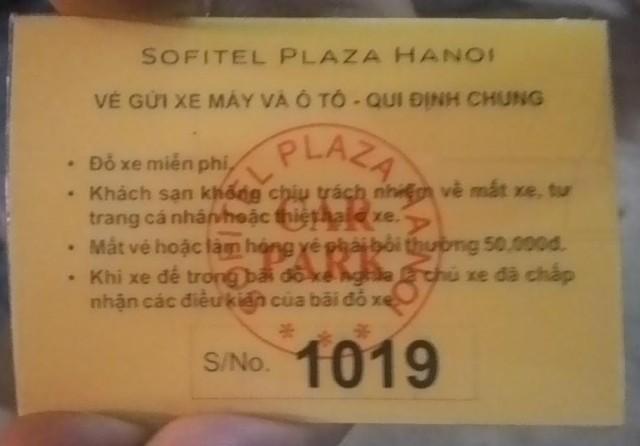 Vé gửi xe của khách sạn Sofitel Plaza