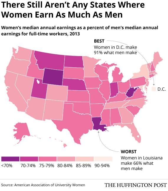 Chênh Lệch Lương Bổng Giữa Nam Và Nữ Trong Từng Bang ở Mỹ