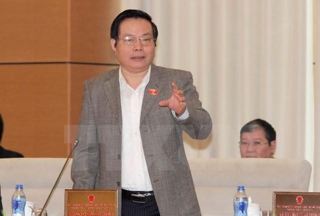 Chủ nhiệm Ủy ban Tài chính- Ngân sách của Quốc hội Phùng Quốc Hiển phát biểu tại phiên họp. (Ảnh: Phương Hoa/TTXVN).
